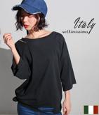 ITALY ダメージカットオフワイドスリーブTシャツ