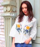 フラワー刺繍袖フレアシャツ