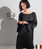 ITALY サテンプリーツフレアスリーブドレス