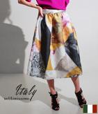 ITALY マルチカラーマーブル風スカート