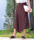 小花柄巻きロングスカート