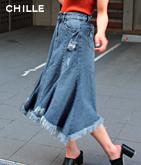 裾フレアデニムスカート