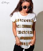 箔ボーダーロゴTシャツ
