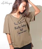 ワイドシルエット刺繍ロゴTシャツ