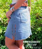 サイド刺繍デニムミニスカート