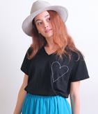 ハート刺繍Tシャツ
