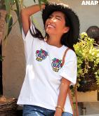 カラベラスカル刺繍Tシャツ