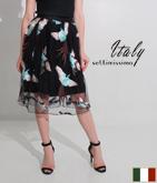 ITALY バード刺繍メッシュフレアースカート