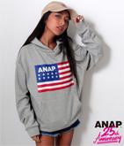 ANAP 25th アメリカンフラッグロゴフーディー