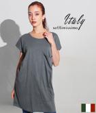 ITALY ロングポケットチュニックTシャツ
