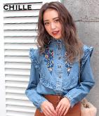 デニム刺繍フリルシャツ