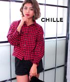 裾タック袖デザインチェックシャツ