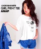 GIRLプリントクロップドルーズTシャツ