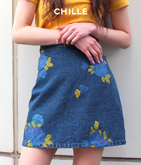 フラワープリントデニムスカート