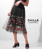 チュール刺繍プリーツスカート