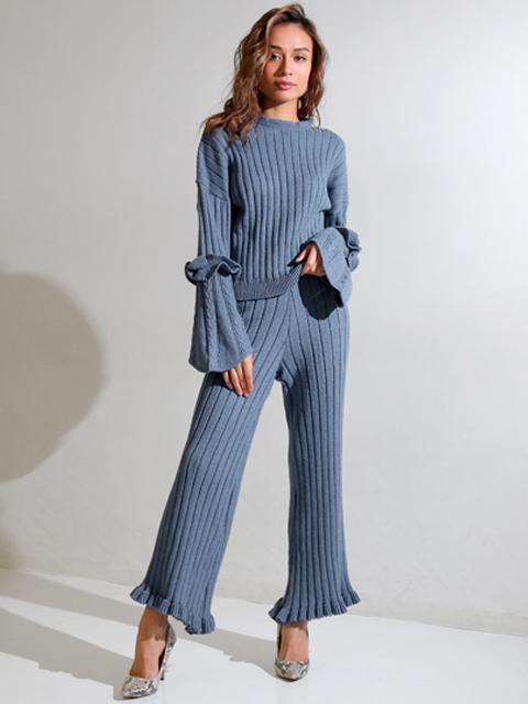 ウール混リブ編み裾フリルニットパンツ