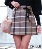 リボン付チェック柄スカート