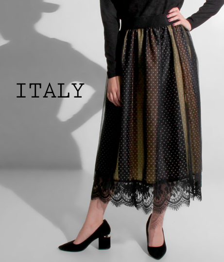ITALY ドット×ストライプ柄チュールドスカート
