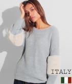 ITALY エコファー切替ニットトップス