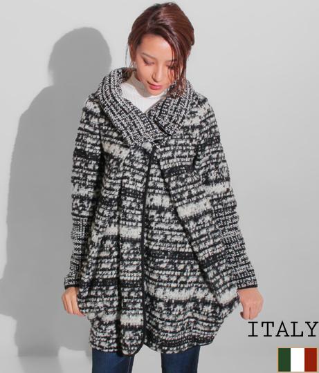 ITALY ハイネックツイード風コクーンコート