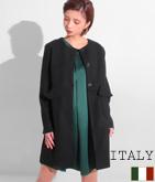 ITALY フリルポケットデザインノーカラーコート