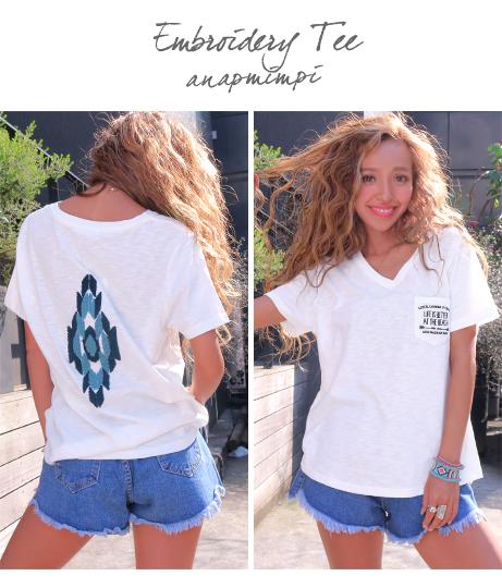 バックサガラ刺繍Tシャツ