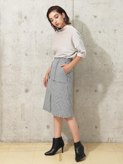portcrosフリンジアウトポケットタイトスカート